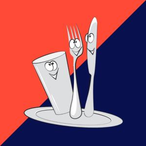 couteau, fourchette, gobelet et assiette animés